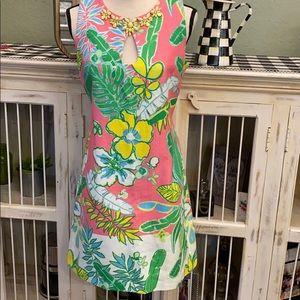 Summer Dress With Key Hole Beaded Neckline
